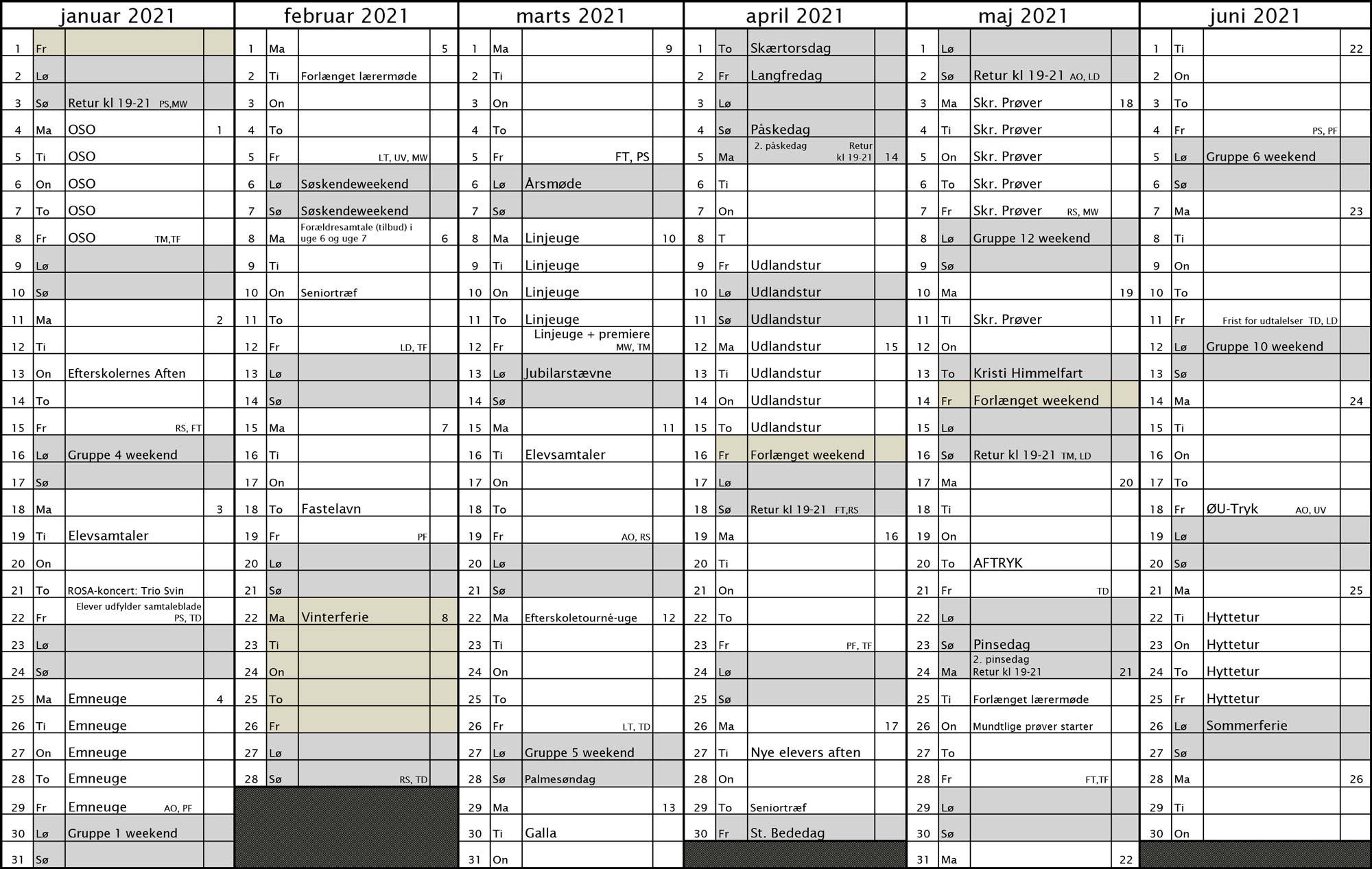 ØU efterskolekalender